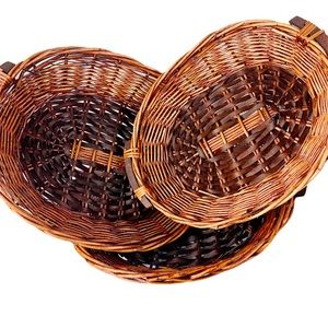 Set Of Three Nesting Wicker Basket with handles